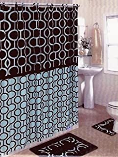 Brown and Blue Olivia 15-piece Bathroom Set: 2-rugs/mats, 1-fabric Shower Curtain, 12-fabric Covered Rings