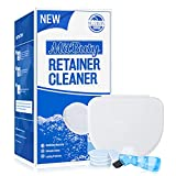MitButy Retainer Cleaner Tablets (120 Count) with 1 Denture Bath Case and 1 Brush - Denture Cleaning Tablets for Invisalign, Aligners, Mouth & Night Guards, and Removable Dental Appliances
