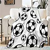 Qutown Soccer Ball Football Drawing Blanket Throw Soft Lightweight Warm Cozy Flannel Fleece Women Adults and Kids Gifts for Couch Bed Sofa 60'x50' Medium for Teen