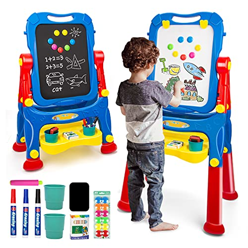 NextX Art Toddler Easel for Painting, Kids Double-Sided Standing Chalkboard & whiteboard with Art Supplies, Educational Toys