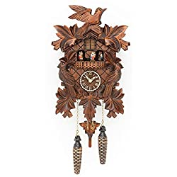 Trenkle Quartz Cuckoo Clock with Music 7 Leaves, 3 Birds TU 377 QMT