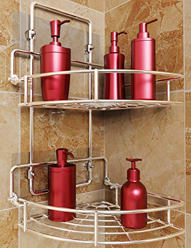 Vdomus Strong Shower Caddy 2 Tier Bathroom Corner Shelf Organizer Polished Chrome No Drilling Needed Basket Holder Wall Mounted for Kitchen