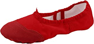 staychicfashion Womens Canvas Ballet Slippers Practice Yoga Flat Shoes Split Belly Shoes(10, Red/Scarlet)