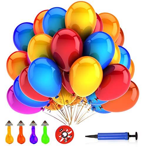 Luftballons Bunt, 50 Bunte Ballons Latex Helium, Colourful Balloons für Kinder Geburtstag, Hochzeit Stäbe Party Gartenparty Sommerfest Halloween Weihnachten Geburtstags Party Hochzeits Dekoration