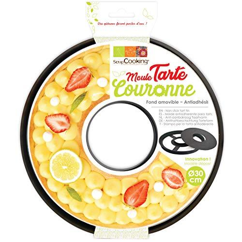 SCRAP COOKING Moule Anti-adhésif Tarte à Trou/Couronne, Acier au Carbone avec revêtement antiadhésif apte au Contact Alimentaire, Noir, 30 x H2,5 cm