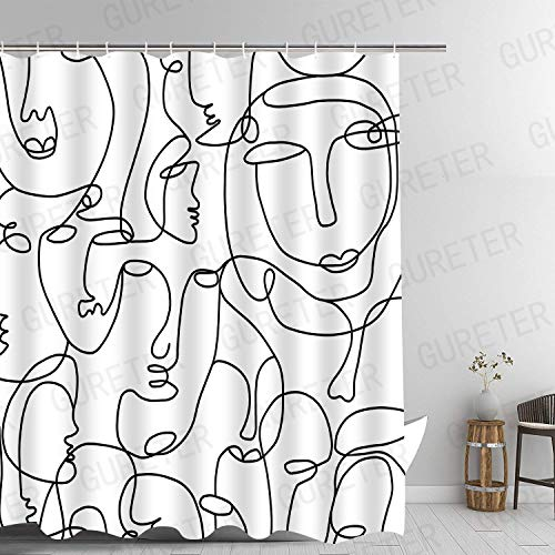 Duschvorhang mit abstrakten Gesichtern, minimalistisch, abstrakt, modern, 183 x 183 cm, maschinenwaschbar, blickdicht, modern, mit 12 Haken YLLLGE125