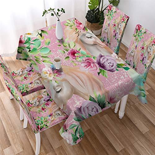 UCKSL Tabla de Dibujos Animados Floral del Unicornio Mantel de Tela Rectangular para cenar Banquete de la Boda Blanca Ropa de Mesa Obrus 002 140x140 - Tablecloth