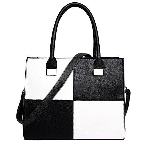 Miss Lulu , Damen Henkeltasche mehrfarbig schwarz / weiß