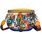 Sonline Cartoon Street Style Graffiti Pu Leather Messenger Bag Travel Lady Bandolera Messenger Bag Handbag-Amarillo