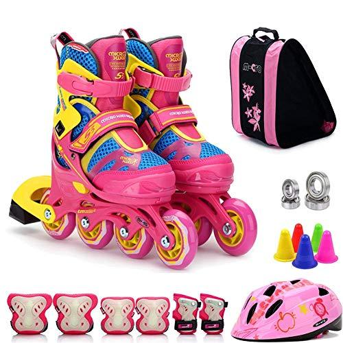 FACAIA Inline-Skates Leichtgewicht für Kinder, verstellbare Profi-Rollschuhe für Teenager, Dreifachschutz-Rollschuhe, ideal für Jungen und Mädchen, B1, L (3.5─6UK / 37─40EU)
