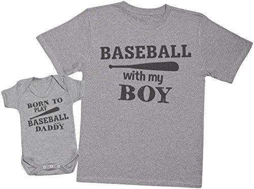 Zarlivia Clothing Born to Play Baseball with Daddy - Ensemble Père Bébé Cadeau - Hommes T-Shirt & Body bébé - Gris - Large & 0-3 Mois