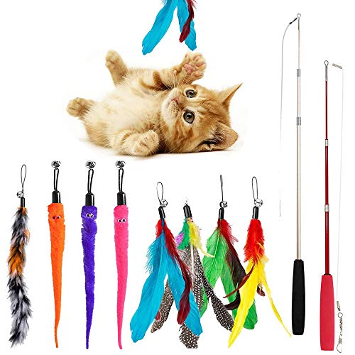 Set di Giocattoli per Gatti, Rompicapo Interattivo per Gatti, Bacchetta per Gatti Retrattile da 2 Pezzi con 10 Pezzi di Giocattoli a Forma di Verme di Piume di Ricambio per Acchiappagattini