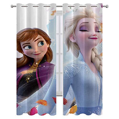 Lush Decor Cortina de ducha con diseño de películas de anime Frozen Anna y Elsa cortinas decorativas de pelo largo para calidad de hotel de 72 x 84 pulgadas