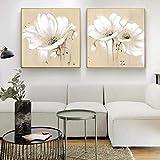 Rumlly Flores Vintage Lienzo Arte de la Pared Pinturas Flores abstractas Blancas Impresiones artísticas Cuadros Modernos para la Sala de Estar Decoración del hogar 30x30cmx2 Sin Marco