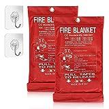 Solity Fire Blanket for Home, Fire Suppression Blanket, Fire Blanket Kitchen, Fire Emergency Blanket, Fire Retardant Blankets, Fiberglass, Fire Safety Blanket 2 Pack 40'x 40' + 2 Hooks