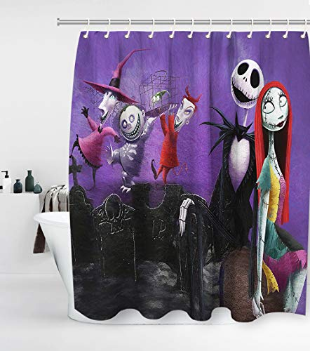 Nightmare Before Christmas Shower Curtain Custom Jack with 12 Hooks Waterproof Washable and Durable Polyester Cloth Fabric Kids Bathroom Set Halloween Decor Washable 72 x 72 inches Purple Red Black