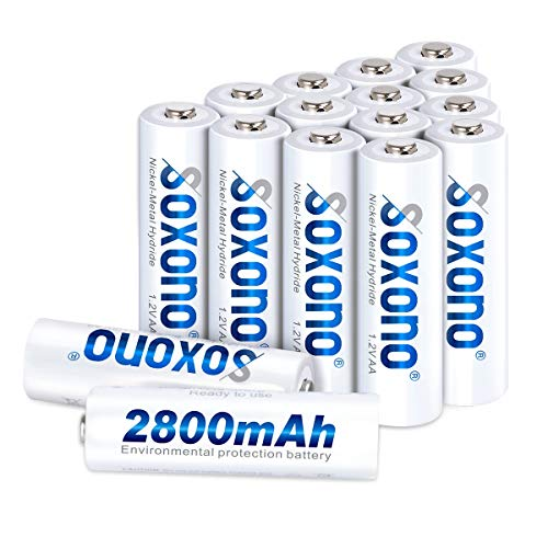 AA Batteries Rechargeable,SOXONO 1.2V 2800mAh AA Batteries Battery Pack with Low Self Discharge 16 Pack