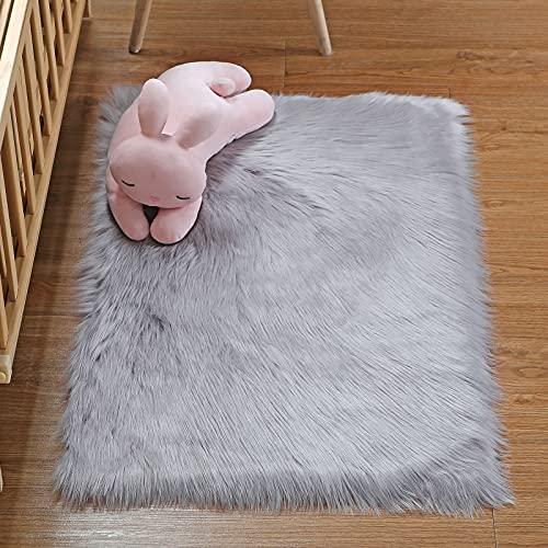 DAOXU Piazza 90 x 60 cm Tappeto Faux Fur Morbido soffice Tappeto Peloso Faux Montone Tappeto Tappeto Tappeto Soggiorno Camera da Letto Decorazione (90x60cm, Grigio)