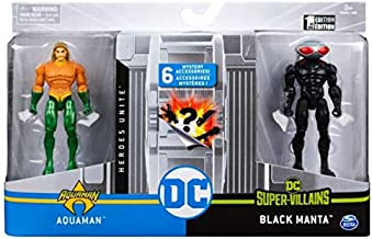 Spin Master DC Heroes Unite 2020 Aquaman VS Black Manta 4-inch Action Figure with 6 Mystery...