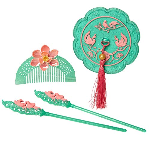 Disney Mulan Hair Accessory Set, Role Play Hair Accessory Pieces Include: Mirror, Hair Comb & Barrettes - for Girls Ages 3+
