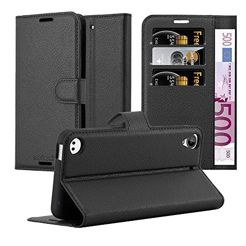 Cadorabo Hülle für HTC Desire 530/630 - Hülle in Phantom SCHWARZ – Handyhülle mit Kartenfach & Standfunktion - Case Cover Schutzhülle Etui Tasche Book Klapp Style