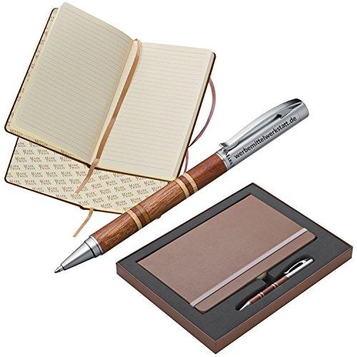 Geschenkset Mark Twain ® / Set aus Notizbuch A5 mit 160 Seiten liniert und Kugelschreiber aus Metall und Holz individuell graviert