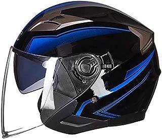 Leoie Half Face Motorbike Helmet for Men, Unisex Lightweight Summer Motorcycle Helmet Double Lens Open Face Helmet Bright Black Blue Flower XL