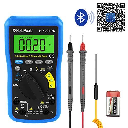 HOLDPEAK Multímetro Digital HP-90EPD Bluetooth Multímetro de Rango Automático Ohmímetro para Prueba Voltaje AC/DC Resistencia Corriente Capacidad Temperatura para Coche y Circuito (Batería Incluida)