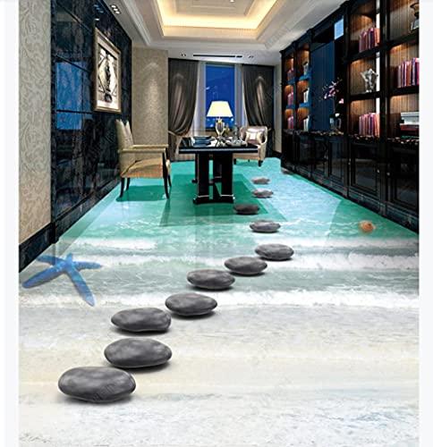 Pegatinas de suelo 3D personalizadas, hermosas y románticas, concha de playa, baño, baldosa 3D-400 * 280Cm, pegatinas de pared, calcomanías, decoración de la habitación