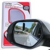 LivTee Blind Spot Mirror,Fan Shaped 2.5'' HD Glass Frameless Convex Rear View Mirror with wide angle Adjustable Stick for Cars SUV and Trucks, Pack of 2