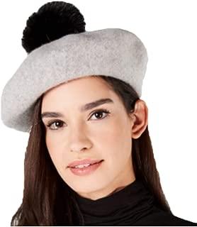 Steve Madden Wool & Faux Fur Pom Pom Beret One Size