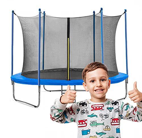 Gartentrampolin Waldensports 8FT 244cm, für Kinder, Trampolin Outdoor, Trampolin mit Sicherheitszaun und Gepolsterte Stangen für Kinder Indoor Outdoor Fitness, Belastbar bis 100 kg