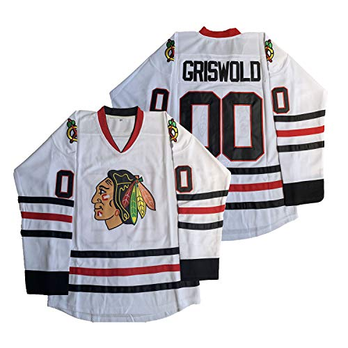Clark Griswold #00 National Lampoon's Christmas Vacation Ice Hockey Jersey (White, XX-Large)