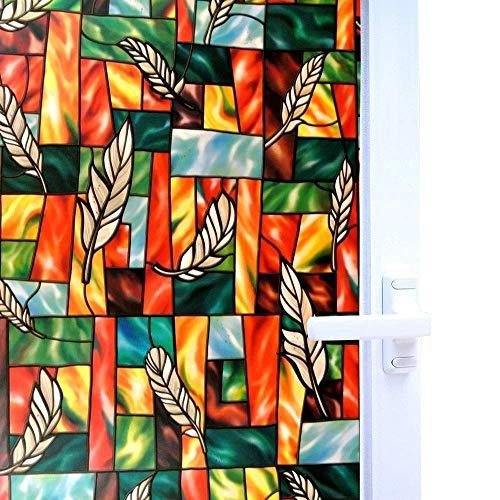 LMKJ Static Fresh-Keeping Window Film, PVC Feather Opaque Stained Glass Sticker, Bathroom Bedroom Home Glass Film A13 50x200cm
