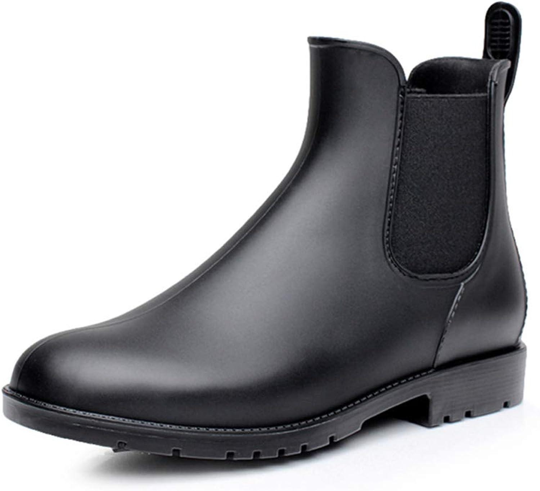 Herren Ankle Stiefelie Stiefelie Stiefelie Schwarz Chelsea Stiefel Regnerischer Tag Rutschfeste Wasserdichte Runde Zehe Lässig Männliche Schuhe Rain  a0d673