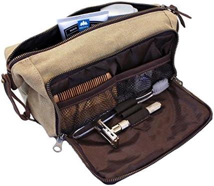 DOPP Kit Mens Toiletry Travel Bag YKK Zipper Canvas & Leather (Large, Khaki)