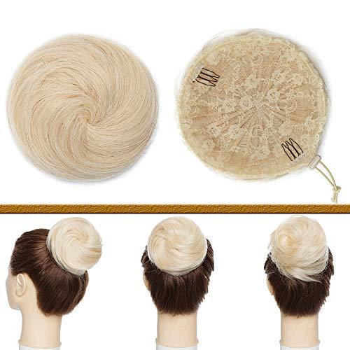 Postiche Chignon Cheveux Naturel Chouchou Raide Pour Queue De Cheval Chignon 100% Cheveux Humain Naturel Lisse Srcunchie Hair Bun - #60 Blond Platine