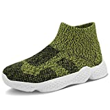 FEITAI Boy Shoes Kids Walking Tennis Running School Girl Sock Slip-on Sneakers Army Green 2(Little Big Kids)