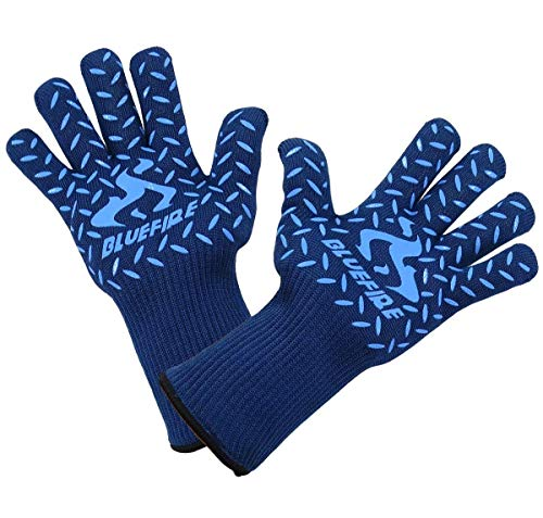 BlueFire Gloves BBQ Grill Firepit Oven Mitts Heat Resistant 932 Degrees F Lab Certified Professional Grade Kevlar (X-Large, Blue)