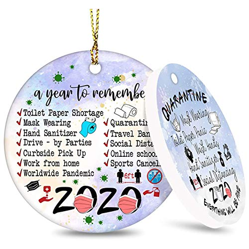 Price comparison product image Pop Your Dream Two-Side Printed 2020 Christmas Ornament Quarantine,  2020 Event Ornament