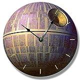 Tr73ans Reloj de pared, reloj de pared con patrón de estrella de la muerte, arte espacial...