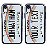Custom Hawaii License Plate Cases for iPhone XR by Guard Dog – Personalized – Create Your Own License Plate on a Hybrid Phone Case (Black) – Includes Guard Glass Screen Protector