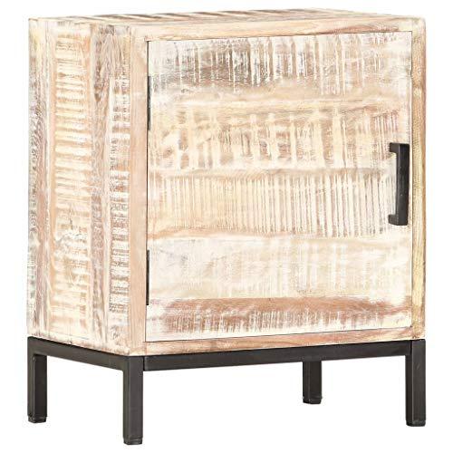 vidaXL Stolik nocny z litego drewna akacjowego, z 1 drzwiczkami, ręcznie wykonany, szafka nocna, komoda do sypialni, komoda, szafka 40 x 30 x 50 cm