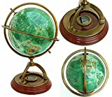 Handmade Nautical Antique Brass World Globe 14'' Tall Collectible Tabletop with Compass and Gifting Item
