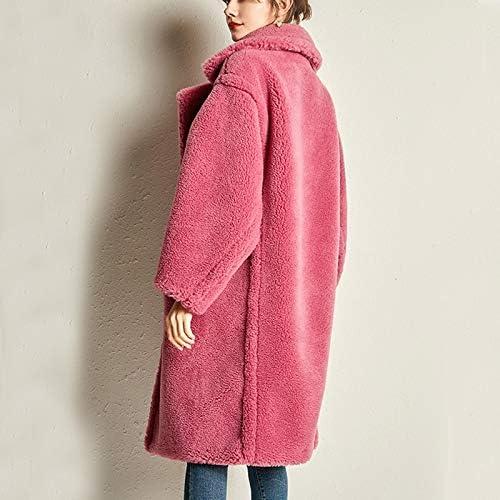 SHOUBANG Mantel Echter Schaffellmantel Für Frauen Beiläufiger Einfarbiger Teddy-Mantel Für Frauen black-L