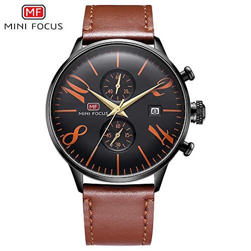SJXIN Stilvolle Uhr Mini Focus / MF0135G Zwei Small-Cap-Herren-Quarzuhr Zeiger Gürtel wasserdichte Uhr Modeuhren (Color : 2)