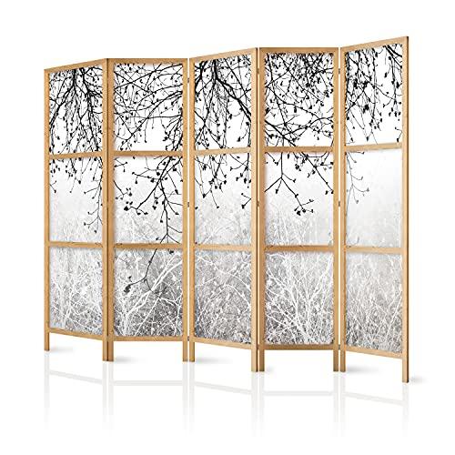 murando - Biombo XXL XXL Arbol Botanical Bosque Abstracto 225x171 cm 5 Paneles Lienzo de Tejido no Tejido Tela sintética...