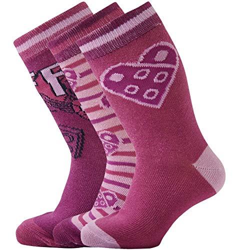 LEGO Mädchen CM-50437-3 Pack Socken, Violett (Bordeaux 383), 37 (Herstellergröße: 37/39)