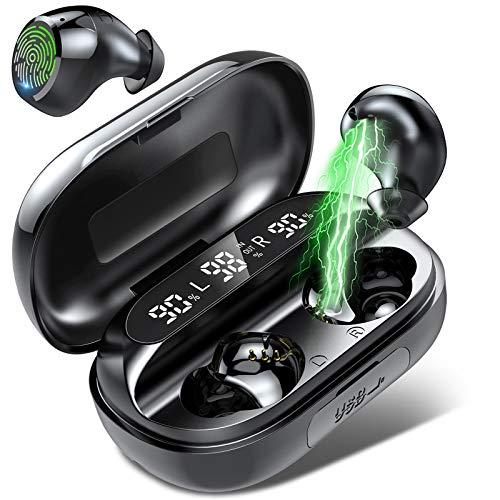 Bluetooth Kopfhörer, Kabellose Kopfhörer mit Mikrofon, Soliden Bass in Ear Kopfhörer, IPX7 Wasserdicht, 150 Stunden Spielzeit mit Ladekoffer, LED-Anzeige für Sport/Laufen