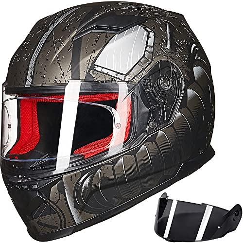 ILM Motorcycle Street Bike Full Face Helmet Anti-Fog Pinlock Shield Snowmobile Helmets DOT for Men Women (Machanic, M)